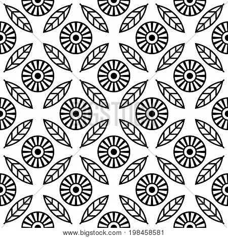 Floral seamless pattern. Monotone monochrome seamless background. Regular pattern with stylized flowers and leafs. Black and white vector design.