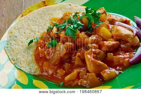 Cheaters Chicken Mole.typical mexican dish close up meal
