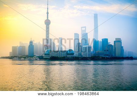 Foggy day Shanghai morning Shanghai skyline China