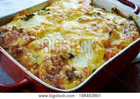 Moussaka with zucchini.Greek cuisine,  close up meal