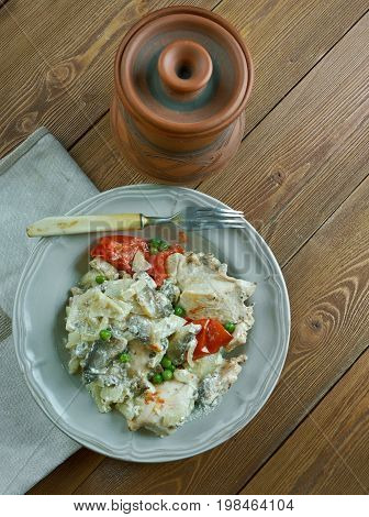 Chicken fricassee with mushrooms and cream style of Alsace - Plat Alsacien