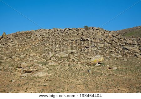 Steppe On A Background Of Mountains