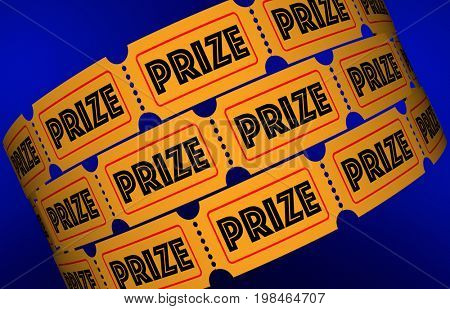 Prize Big Jackpot Win Award Raffle Tickets 3d Illustration