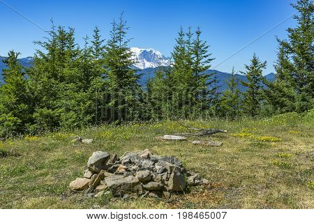 Camp Fire Pit In Washington With Mount Rainier