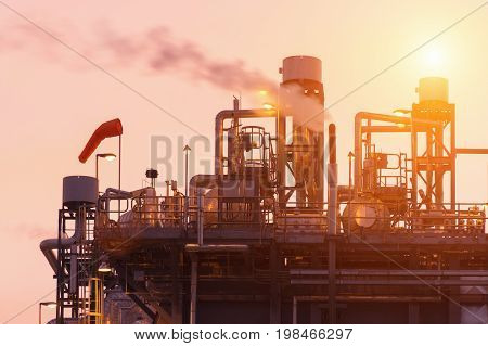 Oil Refinery Factory, Petrochemical Plant, Petroleum, Chemical Industry, Oil Tanks power plant with smoke stacks background,