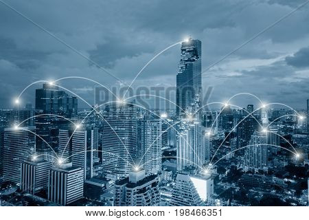 Network business conection system on cityscape tower background