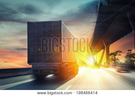 Container truck on the highway transportation export
