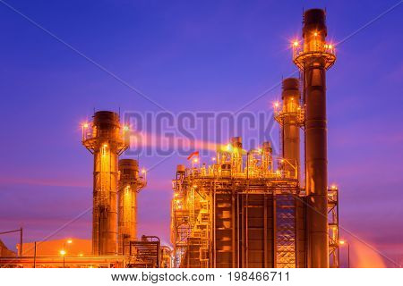 power plant in the petrochemical plant at twilight sky