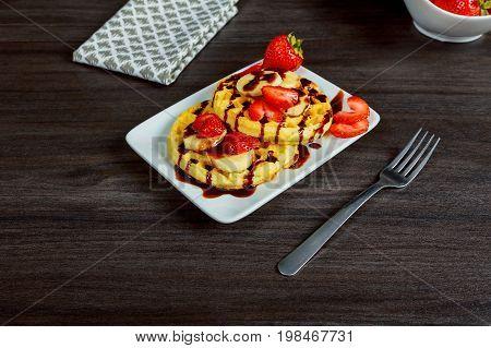 Homemade Belgian Waffles With Strawberries