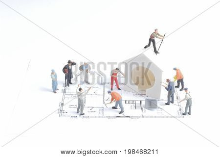 Tiny Figure Of Worker Construction The Site