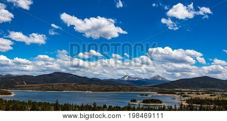 Dillon Reservoir sometimes referred to as Lake Dillon is a large fresh water reservoir located in Summit County Colorado and is a reservoir for the city of Denver. Popular ski areas are close to the reservoir including Copper Mountain Keystone Arapahoe Ba