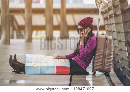 Lost Traveller Making Call Asking For Help