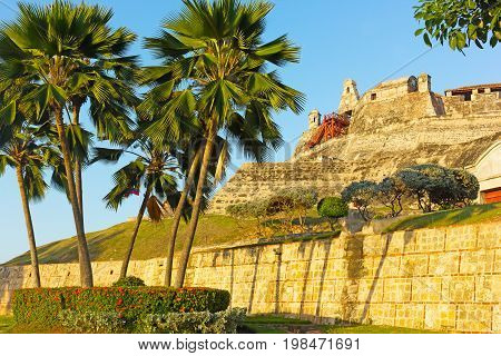 San Felipe de Barajas fortress at sunset in Cartagena Colombia. The fortress is most visited city attraction played a key role in the country colonial past.