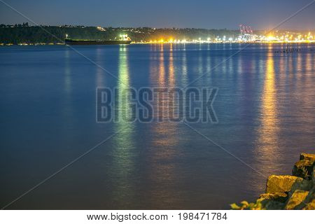 Tacoma Harbor With Light Reflections On The Sea