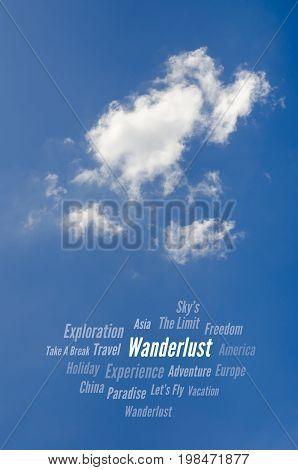 Wanderlust, Travel Word Cloud, Blue Sky & Clouds