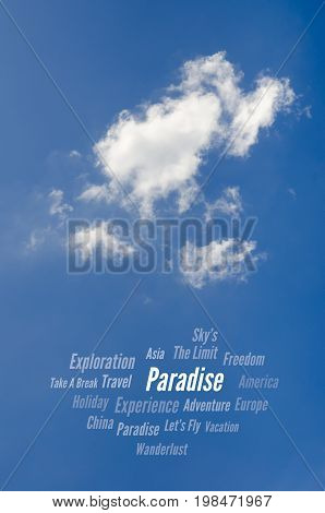 Paradise, Travel Word Cloud, Blue Sky & Clouds