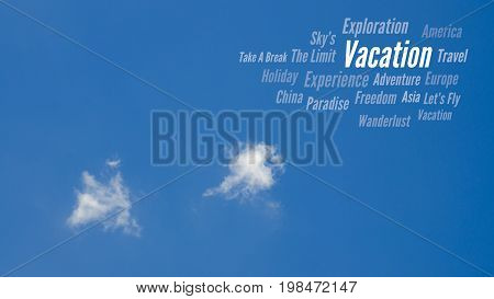 Vacation, Travel Word Cloud, Blue Sky & Clouds