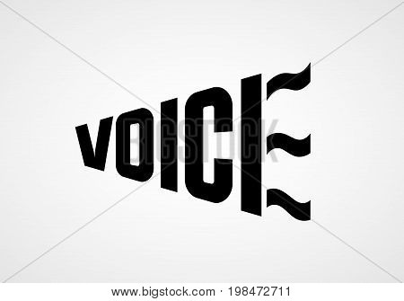 Word Voice in the form of bullhorn. Vector lettering. RGB Global color