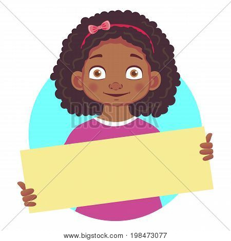 African or Afro-American girl holding blank poster. Blank message vector illustration. Hands holding blank paper