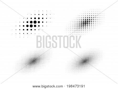 Set of halftone circle dots backgrounds. Collection of diagonal ovals using halftone texture for logo or emblem. Vector design elements.
