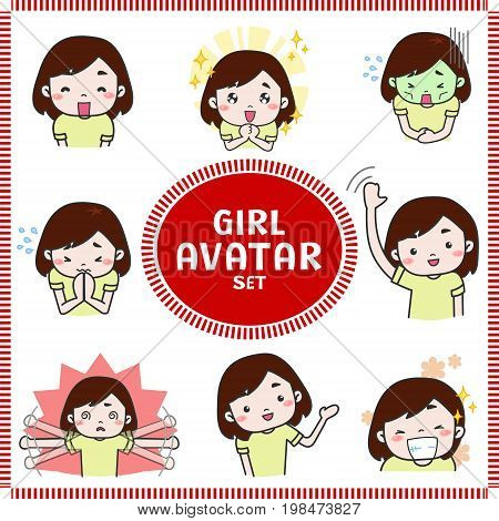 Cute cartoon illustration of girl and woman avatar icon in various activities and mood set 1. Girl icon set in Japanese manga style create by vector