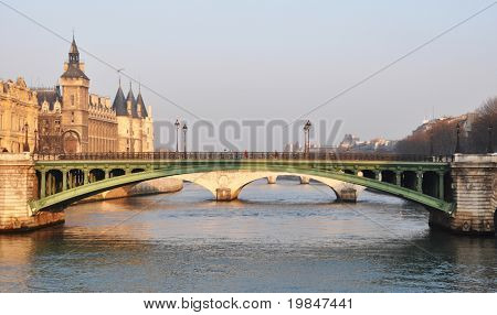 The river Seine and the Conciergerie in Paris