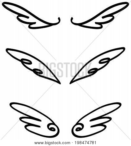 Cartoon illustration doodle of angel or fairy wings icon sketch set. Cartoon wings for comic and decoration usage in isolated background create by vector