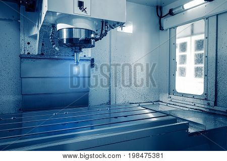Milling cutting metalworking process. Precision industrial CNC machining of metal detail by mill at factory poster