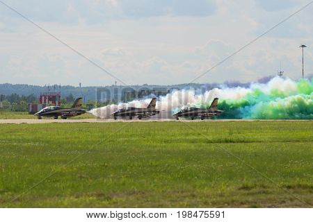 ZHUKOVSKY, RUSSIA - JULY 20, 2017: Pilots of the UAE Air Force aerobatics team