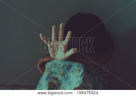 Stop abuse girl violence. child bondage in angle Human Rights concept.