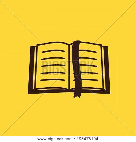 Thin lined book icon. Vector isolated outlined sign of opened book in front and top view.