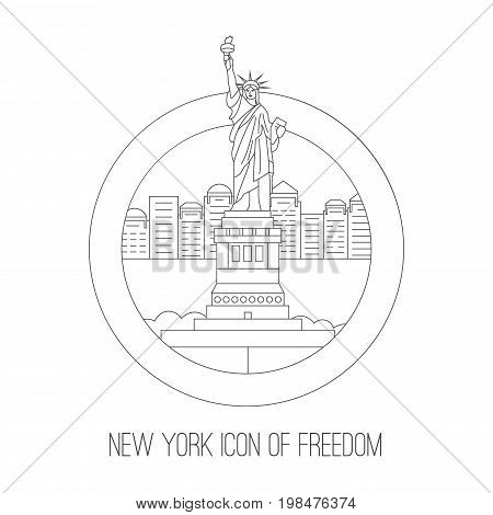 New York skyscraper attractions. Vector thin lined outlined icon of New York city freedom icon and skyscraper buildings. City design front view elements four tourist visit isolated on white background