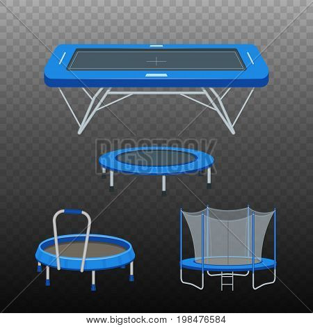 Jumping trampoline vector flat realistic icon. Isolated trampoline set for children and adults for fun indoor or outdoor fitness jumping on transparent background