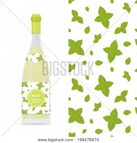 Mint vector colorful seamless pattern for design of holiday decoration, greeting card, gift wrapping paper, lemonade bottle. Vector cheerful endless background with mint leaves.