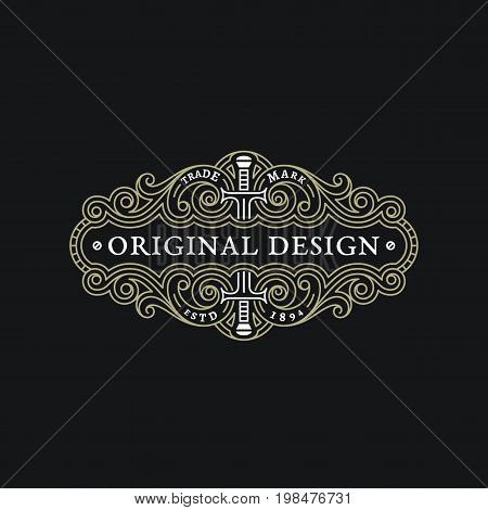 Flourishes elegant ornament label template with two swords in trendy linear style. Vector illustration.