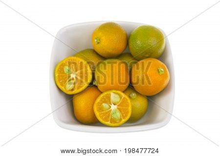 Calamondin also known as calamansi or Citrofortunella microcarpa is a plant and fruit of the citrus family which resembles a small round lime