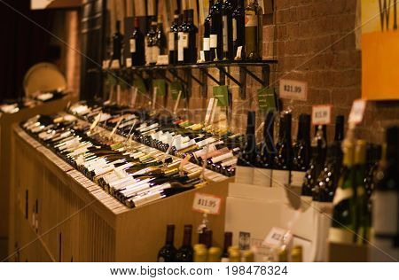 Wine Store, Color Image, Selective Focus, Horizontal Image
