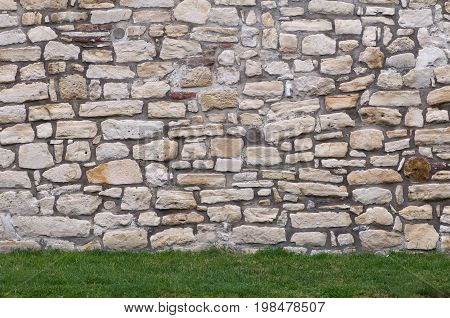 Ancient Fortified Wall, Color Image, Selective Focus, Horizontal Image