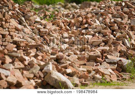 Brick Rubble, Color Image, Selective Focus, Horizontal Image