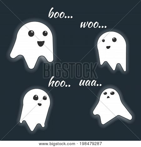 Cute little vector luminous screaming ghost characters with scream text. Halloween monsters for your spooky holiday design