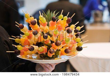 Fruit arrangement color image selective focus horizontal image