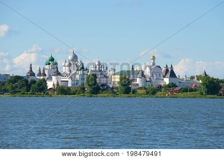 The Kremlin of Rostov Velikiy on the shores of lake Nero a Sunny day in July. The Golden ring of Russia