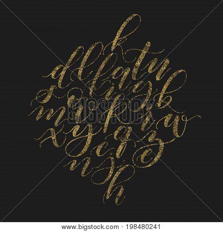 Handwritten beautiful elegant vector golden glitter calligraphy alphabet. Bush font lower cases cursive script on black background.
