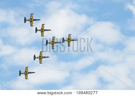 ZHUKOVSKY, RUSSIA - JULY 20, 2017: Fragment of the performance of the Latvian aerobatic team