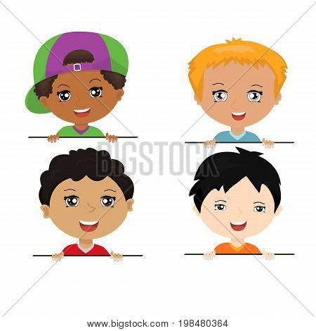 Vector children characters of different nationalities with billboard. Cartoon collection of little boys portraits, various human races.