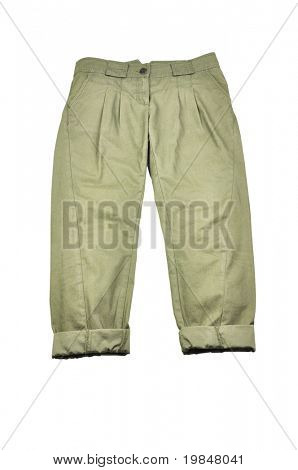 A pair of kaki pants isolated on white