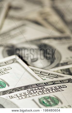 Pile Of One Hundred Dollar Bills, Color Image, Selective Focus,