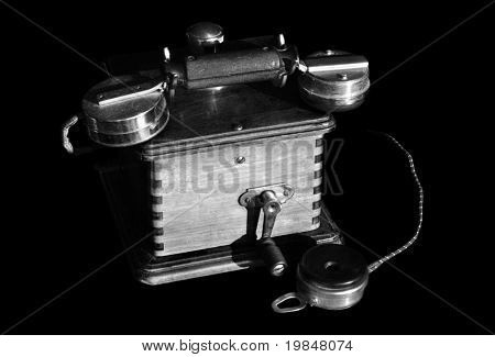 Vintage telephone in black and white
