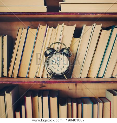 Close Up Shelfs Wooden Case Ancient Books