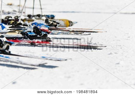 Skis And Poles On The Snow, Color Image, Selective Focus, Horizontal Image